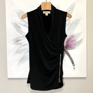 Michael Kors Sleeveless Ruched Top Black Size S